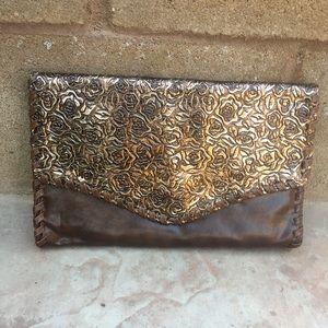 Forever 21 Brown/Gold Rose Clutch Handbag